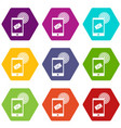 mobile mail sign icon set color hexahedron vector image vector image
