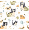 mother cat with kitten seamless pattern vector image vector image