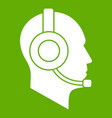 operator in headset icon green vector image vector image