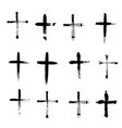 plus symbols big collection grunge religion cross vector image