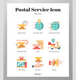 postal service icons flat pack vector image