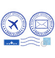 postmarks barcelona spain blue air mail symbols vector image vector image