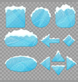 realistic 3d detailed ice buttons set vector image vector image