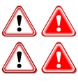 Red Exclamation Sign Danger signs Isolated vector image
