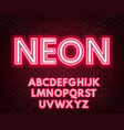red-white neon alphabet on a dark background vector image vector image
