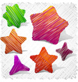 Scribbled stars shapes vector image