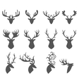 set a deer head silhouette on white background vector image vector image