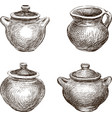 set of the various clay pots vector image