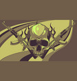 skull with machine guns kalashnikov ak-47 vector image