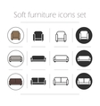 Soft furnishing icons set vector image vector image