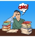 student with stack books pop art vector image