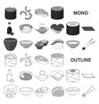 sushi and seasoning monochrom icons in set vector image