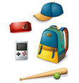 Things used by a typical young boy vector image vector image