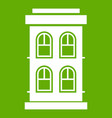 two-storey house with large windows icon green vector image vector image