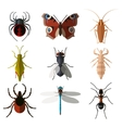 Set of insect flat icons1 vector image