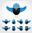 blue cartoon business bird vector image