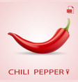single red chili pepper isolated on a background vector image