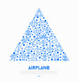 airplane concept in triangle with thin line icons vector image vector image