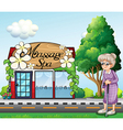 An old woman outside the massage spa parlor vector image vector image