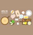 apple pie and ingredients vector image vector image