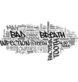 bad breath and cavities text word cloud concept vector image vector image