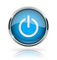 blue round media button power button shiny icon vector image vector image