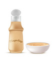 bottle and bowl full of mayochup sauce vector image vector image