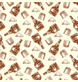 bottle of rum and cocaine seamless pattern vector image