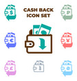 brown wallet with paper money icon isolated vector image
