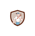 Builder Carpenter Holding Hammer Shield Cartoon vector image vector image