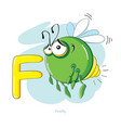 cartoons alphabet - letter f with funny firefly vector image