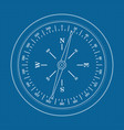compass icon on blueprint background vector image vector image