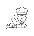 cook preparing desserts line icon concept cook vector image