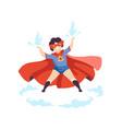 cute boy wearing colorful superhero costume super vector image vector image