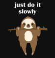 cute cartoon sloth hanging on tree vector image vector image