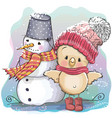 cute chicken and snowman vector image vector image
