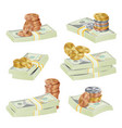 dollar stacks gold coins and money vector image vector image
