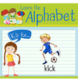 Flashcard letter K is for kick vector image vector image