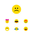 flat icon gesture set of sad laugh caress and vector image vector image
