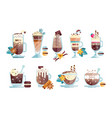 flat set of tasty coffee drinks in vector image