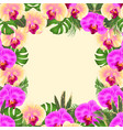 floral frame bouquet with tropical flowers yellow vector image vector image