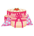 gift box present with sweet cake and party hat vector image