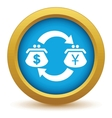 Gold dollar yen exchange icon vector image