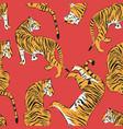 hand drawn tiger seamless pattern big cats vector image vector image