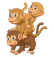 happy monkey family with her two babies vector image vector image