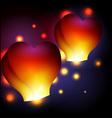 Heart shaped sky lanterns vector image vector image