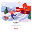 ice skate web banner design template vector image
