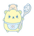 kawaii cute mother bear holding a spoon of vector image