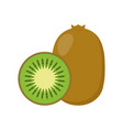 kiwi whole fruit and half vector image vector image