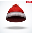 Knitted woolen red cap Winter seasonal blue hat vector image vector image